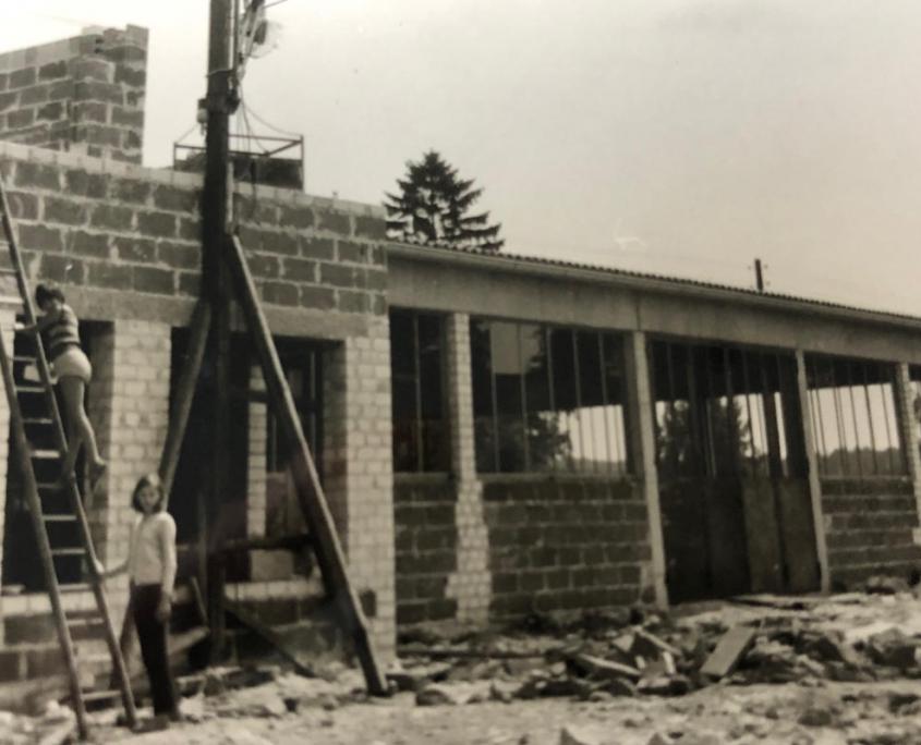 Naubau für die Lackiererei Mitte der 1970er Jahre